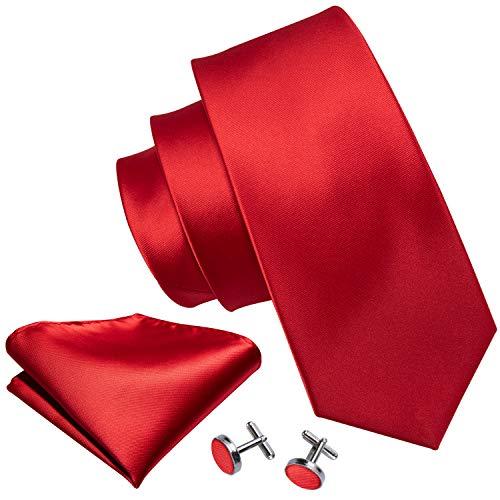 Barry.Wang - Juego de gemelos y corbata para hombre, colores sólidos - Rojo - talla única