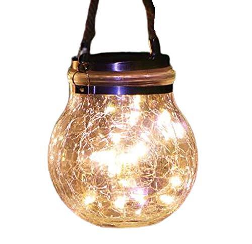 Linterna colgante exterior Lámpara solar al aire libre patio del jardín colgante impermeable lámpara de mesa lámpara de la noche de cristal Luz Villa Jardín Decoración de la lámpara Decoración del pat