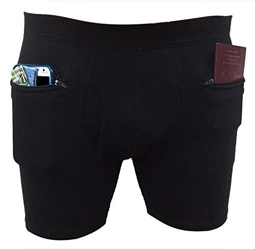 Pick-Pocket Proof Men's Underwear with Secret Pocket (Cotton) (Small, Black)