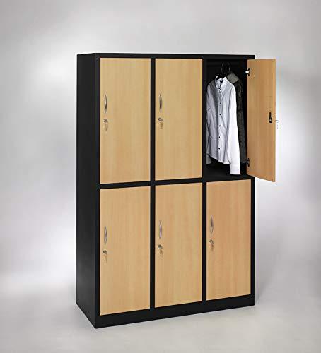 furni24 Garderobenschrank Schließfach Spind Umkleideschrank Kleiderschrank Abteilbreite 40 cm 6-türig fertig montiert Verschiedene Ausführungen verfügbar