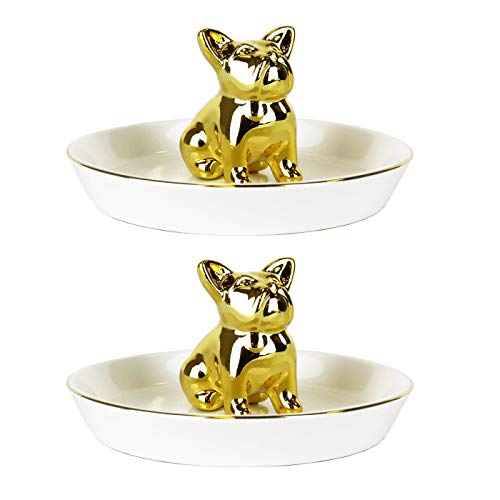 2 PACKS Dog Ring Holder White Ceramic Tray Decorative Gold French Bulldog for Wedding Rings, Bracelet, Jewelry, Earings, Necklace, Cufflinks. Great for Home & Office Decor Accents