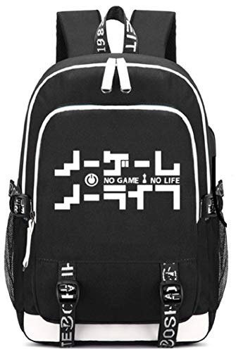 Siawasey Game No Life Anime Cosplay Luminous Rucksack Daypack Schultasche Laptop Schule Tasche mit USB-Ladeanschluss