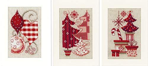 Vervaco Weihnachtlich in Rot, 3er Set Grußkarten zum Sticken in Kreuzstich, Baumwolle, Mehrfarbig, 10.5 x 15 x 0.3 cm, 3-Einheiten