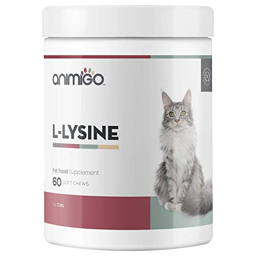 Animigo L-Lysin für Katzen - Laborgeprüfte Zutaten zur natürlichen Unterstützung der Abwehrkräfte Ihrer Katze - Vorbeugung & Immunstärkung - Leckerlies mit Vitaminen & Mineralien - 60 weiche Kausnacks