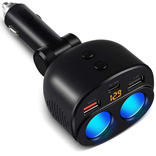 OOWOLF Caricabatteria da Auto USB Splitter, 100W 12V/24V Ricarica Rapida USB 3.0, Caricabatteria da Auto con 2 Prese e 2 USB Porte 1 Type C, Interruttore Separato, per GPS, Dash Cam, Cellulare, iPad