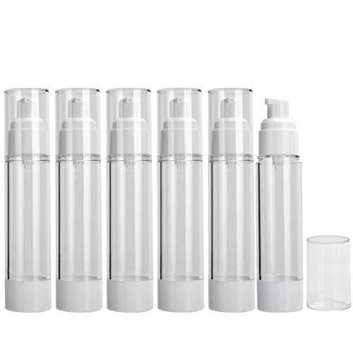 Botella de bomba de vacío recargable de 50 ml Botella de dispensador de vacío de crema de loción cosmética portátil Botella dispensadora de cosméticos, 6 piezas Botella de loción vacía Botellas ambien