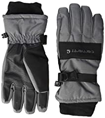 Durable, all-purpose polytex with soft-shell trim and reinforced polyurethane palm Ultra soft insulation, fast dry technology lining wicks away sweat, waterproof insert Nose wipe, wrist strap closure with stretch fleece cuff