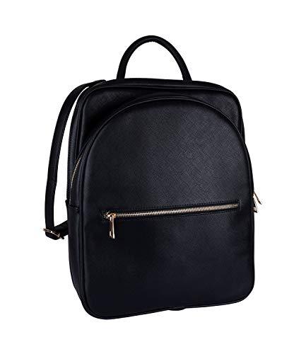 SIX Rucksack aus weichem veganem Leder mit zwei Zipperfächern (726-830)