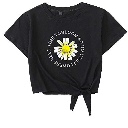 Señoras Primavera y Verano Personalidad Estampado de Flores Corbata de Moda Cuello Redondo Casual Suelta Todo-fósforo Camiseta TopX-Large
