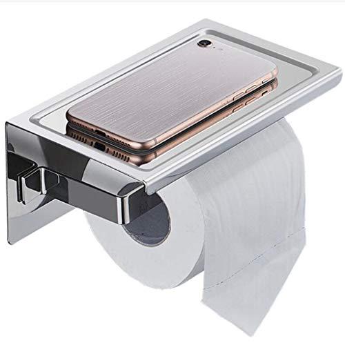 GAIGHC Toiletrolhouder zonder boren, zelfklevende wc-rolhouder, met plank wandmontage Sus304 roestvrij staal voor badkamer toiletrolhouder