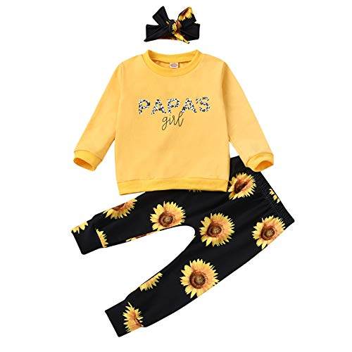 JERFER Neugeborenes Baby Lange Ärmel Brief Drucken Tops Sonnenblume Hose Stirnband Outfits A166
