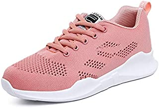 FYXKGLa Summer New Hollow Flying Woven Women's Shoes Students with Wild Casual Shoes Lightweight Running Shoes (Color : Pink-A, Size : 36EU)