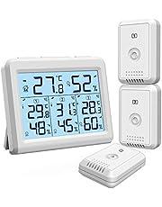 ORIA デジタル温湿度計 外気温度計 ワイヤレス 温度湿度計 室内 室外 三つセンサー 高精度 LCD大画面 バックライト機能付き 最高最低温湿度/快適レベル/温度と湿度傾向図表示 置き掛け両用 温室 ペット 温度管理 健康管理 見やすい おしゃれ