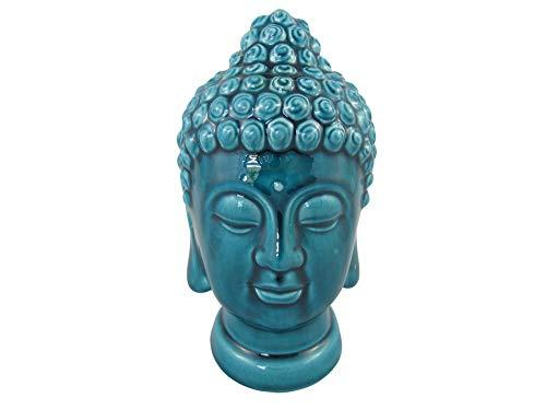| Bumbar Wunderschöner Buddha-Kopf Türkis, Krakelee Keramik, Feng Shui, Meditation, Deko, Dekoration, Figuren, Skulpturen (Buddha-Kopf23cm)