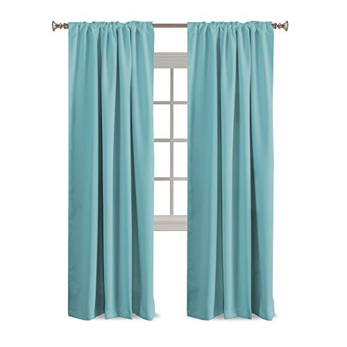 """Turquoize Solid Thermal Insulated Curtains for Kids Room Back-Tab/Rod-Pocket Blackout Window Panels for Nursery & Infant Care, Sold per Pair - Color Aqua - 52"""" W x 84"""" L"""