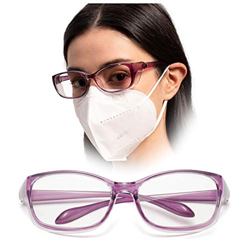 LianSan Anti-Fog Anti-Glare Safety Glasses UV400 HD Blue Light Blocking Goggles for Men Women Purple
