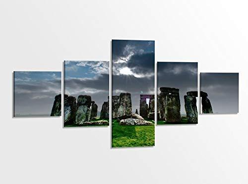 Leinwandbild 5 tlg. 200cmx100cm Stonehenge Steinkreis Skyline Kat15 England Bilder Druck auf Leinwand Bild Kunstdruck mehrteilig Holz gerahmt 9AB413