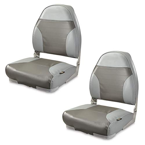 K-AXIS Set of 2 High Back Fold Down Marine Boat Seats - Perfect for Bass Fishing and Pontoon Boating (Gray/Charcoal)