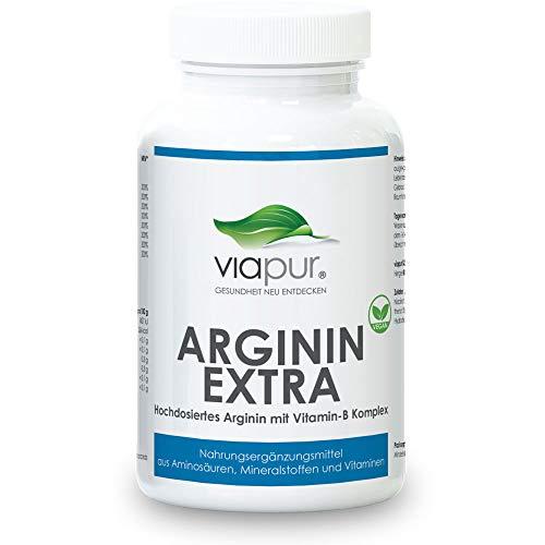 Arginin 120 Kapseln extra hochdosiert - für den aktiven Mann - AKTIONSPREIS! - 100% pure Aminosäuren, Mineralstoffe und Vitamine - viapur® ARGININ EXTRA - 1 Dose für 1 Monat