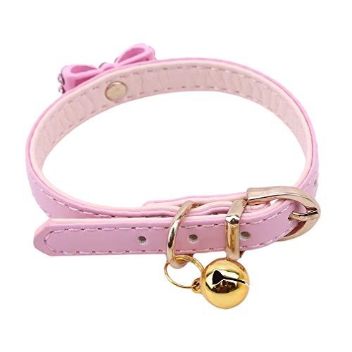 Kingus Collier papillon de chien de chat pour animaux de compagnie réglable avec fournitures de collier pour animaux de compagnie en cuir pour chiot Bell, rose moyen