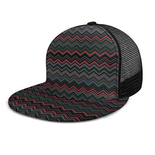 NA Gorra de béisbol Zigzag rojo y horizontal Chevron Adulto Unisex Gorras de béisbol de moda Strapback ajustable