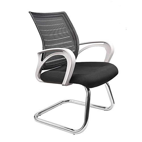 Dripex Freischwinger Bürostuhl mit Armlehnen Netzbezug Konferenzstuhl 55x52x93cm Besucherstuhl Ergonomisch Design Schwingstuhl für 80kg Gewicht (Weiß)