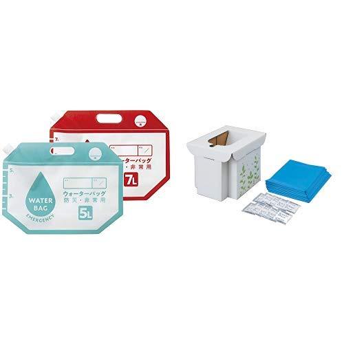 【セット買い】コジット たためるウォーターバッグ ブルー/レッド 5L ・7L各1枚 災害 アウトドア、 緊急用組み立て式トイレ