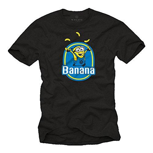 Camiseta Negra - Minions Banana - Talla XXXL