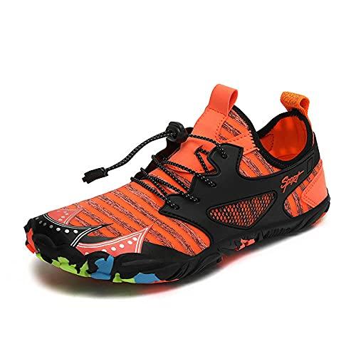 direction Zapatos de Piscina,Zapatos Transpirables de Cinco Dedos involucrados en la Playa Zapatos para Caminar al Aire Libre-Orange_44#,Botas de Deportes acuáticos