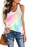 SAUKOLE Women¡¯s Sleeveless Yoga Workout Tank Tops Tie Dye Cute Printed Loose Fit Running Exercise T-Shirt