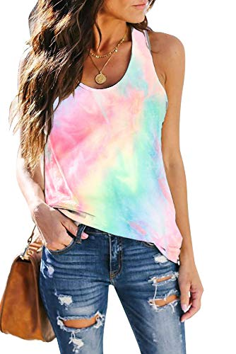 SAUKOLE Women¡¯s Sleeveless Yoga Workout Tank Tops Tie Dye Cute Printed Loose Fit Running Exercise T-Shirt