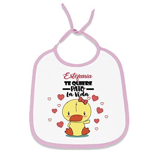 Babero personalizado diseño original con el nombre de tu bebé (Patito, Niña)