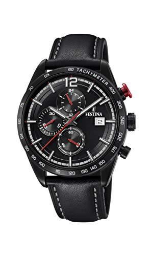 Festina Herren Chronograph Quarz Uhr mit Leder Armband F20344/3