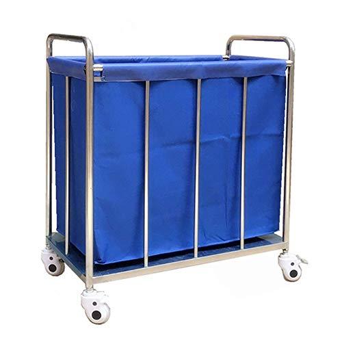 Carro hospitalario, estante para suministros médicos, carro médico Carro clasificador de lavandería con ruedas para hotel azul con ruedas, carro de lino para corrector de vestíbulo resistente con cubi