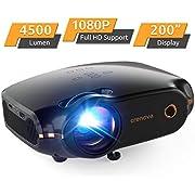 """Mini Beamer, Portable Crenova Video Projektor, HD Beamer mit 200"""" Bildgröße unterstützt 1080P,4500 Lumen für PC/DVD/TV/Xbox/Filme/Spiele/Smartphone mit kostenlosem HDMI-Kabel,Schwarz"""