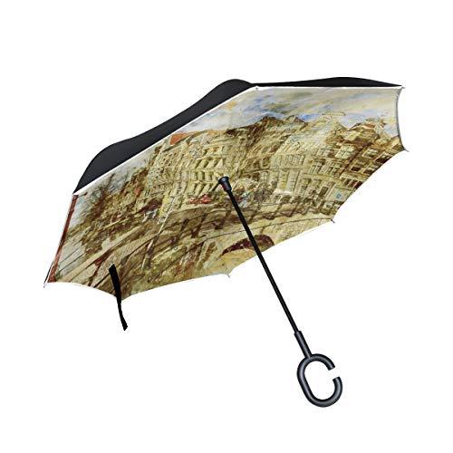 DEZIRO Amsterdam Landschap Schilderij Omgekeerde Opvouwbare Paraplu Dubbele Laag Omgekeerde Paraplu's UV Bescherming Paraplu voor Auto, Regen Outdoor Met C-Shaped Handvat Winddicht