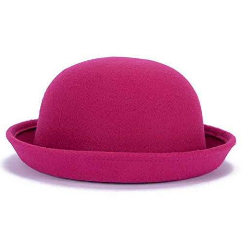 Lujuny Classic Wool Round Bowler Hats - Trendy Derby Fedora Bucket Caps with Roll-up Brim for Youth Girl Petite Women (Rose Red)