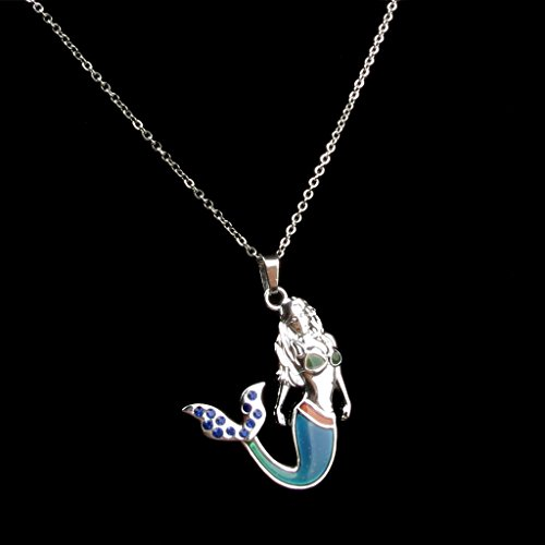 Fineder 1 Pack Mermaid Mood Necklace Color Change Pendant Jewelry for Girls with Blue Shell Necklace Gift Box …