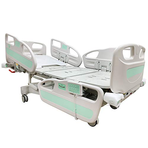 Hopefull Premium 6 Function Full Electric Hospital ICU Bed (5 Functions + Weight Scale) with Nursing Pad, Battery Back-up, Patient Control Pad in & Out at Side-Rails
