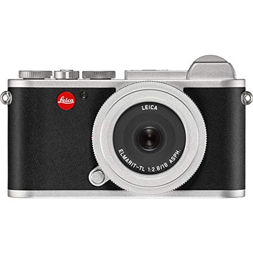 Leica CL Mirrorless Digital Camera, Silver 18mm F2.8 ELMARIT-TL Aspherical Pancake Lens, Silver