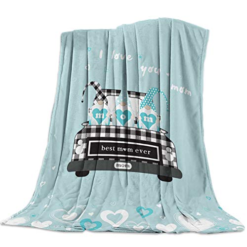 Throw Blankets I Love You Mom Best Mama Ever Fuzzy Soft Bed Cover Bedspread Microfiber Luxury Blanket for Travel Stadium Camping Couch Sofa Chair LatticeTruck Blue