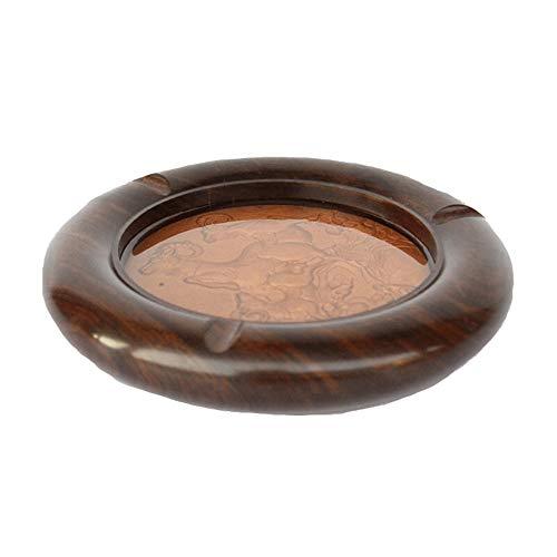 Asbak Mahonie Asbak - massief hout asbak voor huis/kantoor/vlot/nachtkastje/hotel/vakantie geschenken, enz. Bruin-19x3CM