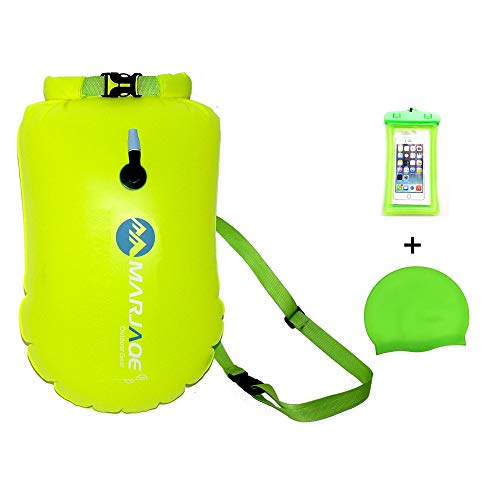 GREAHWD Swim Buoy for Open Water, 20L Inflatable Swim Bubble for Swimmers and Triathlons, Keep Dry Safety Swim Buoy Tow Float Waterproof Bag (Fluorescent Yellow, 20 L)