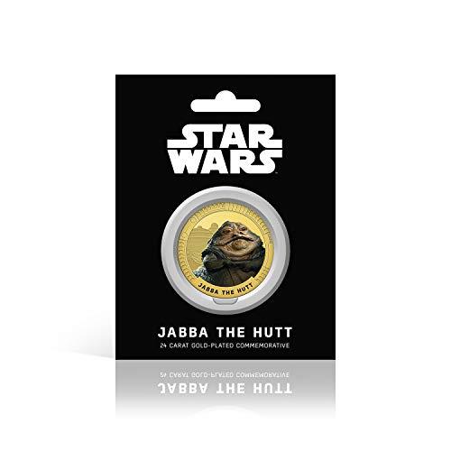 IMPACTO COLECCIONABLES Star Wars Trilogía Original Episodios IV - Vi - Jabba - Moneda / Medalla Conmemorativa acuñada con baño en Oro 24 Quilates y Coloreada a 4 Colores - 44mm