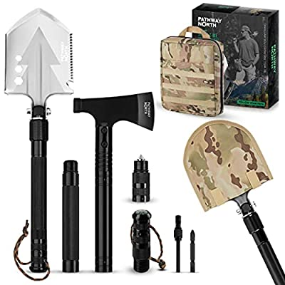 Pathway North Camping Axe and Survival Shovel - Stainless Steel Multi-Tool Folding Shovel and Survival Hatchet - Equipment for Outdoor, Hiking, Hunting, Emergency, Backpacking from Pathway North