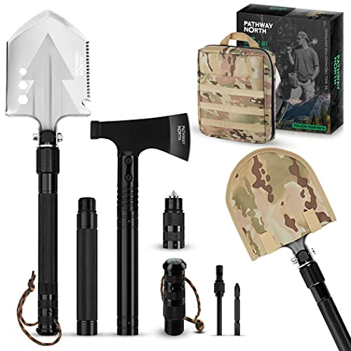 Pathway North Survival Shovel and Camping Axe Stainless Steel Multi-Tool...