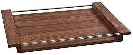 Preisvergleich für NATUREHOME Holz Tablett I NH-M I Design Tablett I Serviertablett aus Massivholz I Dekotablett Frühstückstablett I elegantes Holztablett I Edelstahl I Nussbaum 54,5 x 36,5 cm