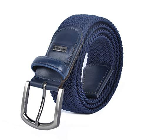 Miuno® Unisex Elastischer Strechgürtel mit Lederdetails Stoffgürtel Geschenkbox 2611 (110Bw.(120cm), Navyblau_002)