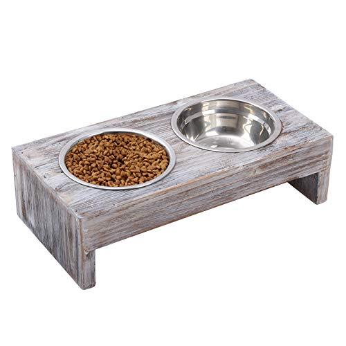 Vencipo Erhöhter Näpfe Katzen mit 2 Fressnäpfe Edelstahl, Holz Futternapf Hund Groß mit Wasser Fütterung Schüssel, Anti-Rutsch Freßnapf Klein für Hund Katze.