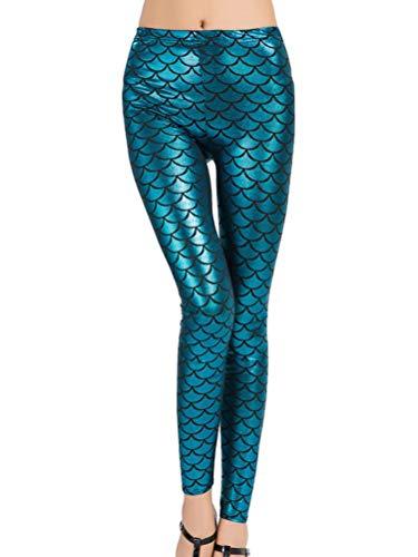 Minetom Mujer Leggings Push Up Skinny Pantalones Brillante Chic Escamas De Pescado Cintura Alta Elásticas Leggins Fitness Nocturno Disco Partido Carnaval Fiesta
